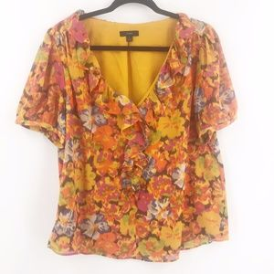J.Crew V-neck ruffle top in sunset floral Large
